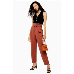 TOPSHOP Brown Belt Peg Trousers